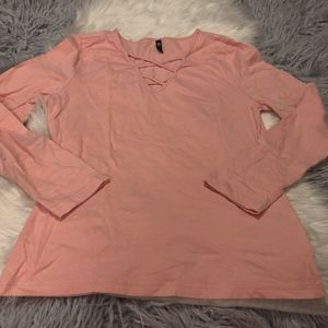 RTI Pink Lace Up Long Sleeve Tee